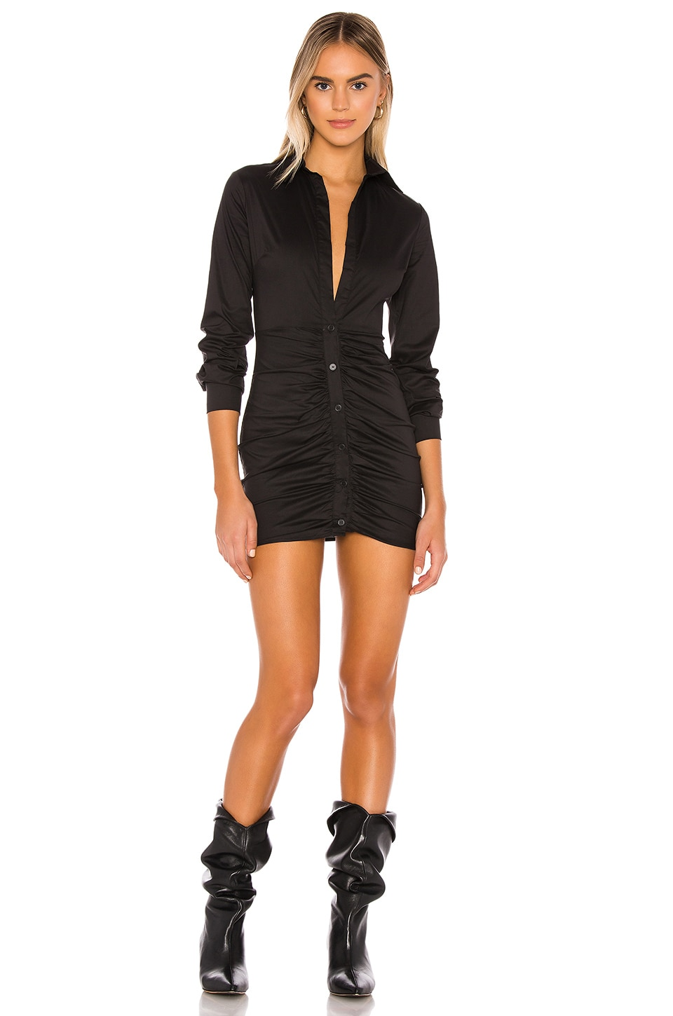 Colette Ruched Shirt Dress, view 1, click to view large image.