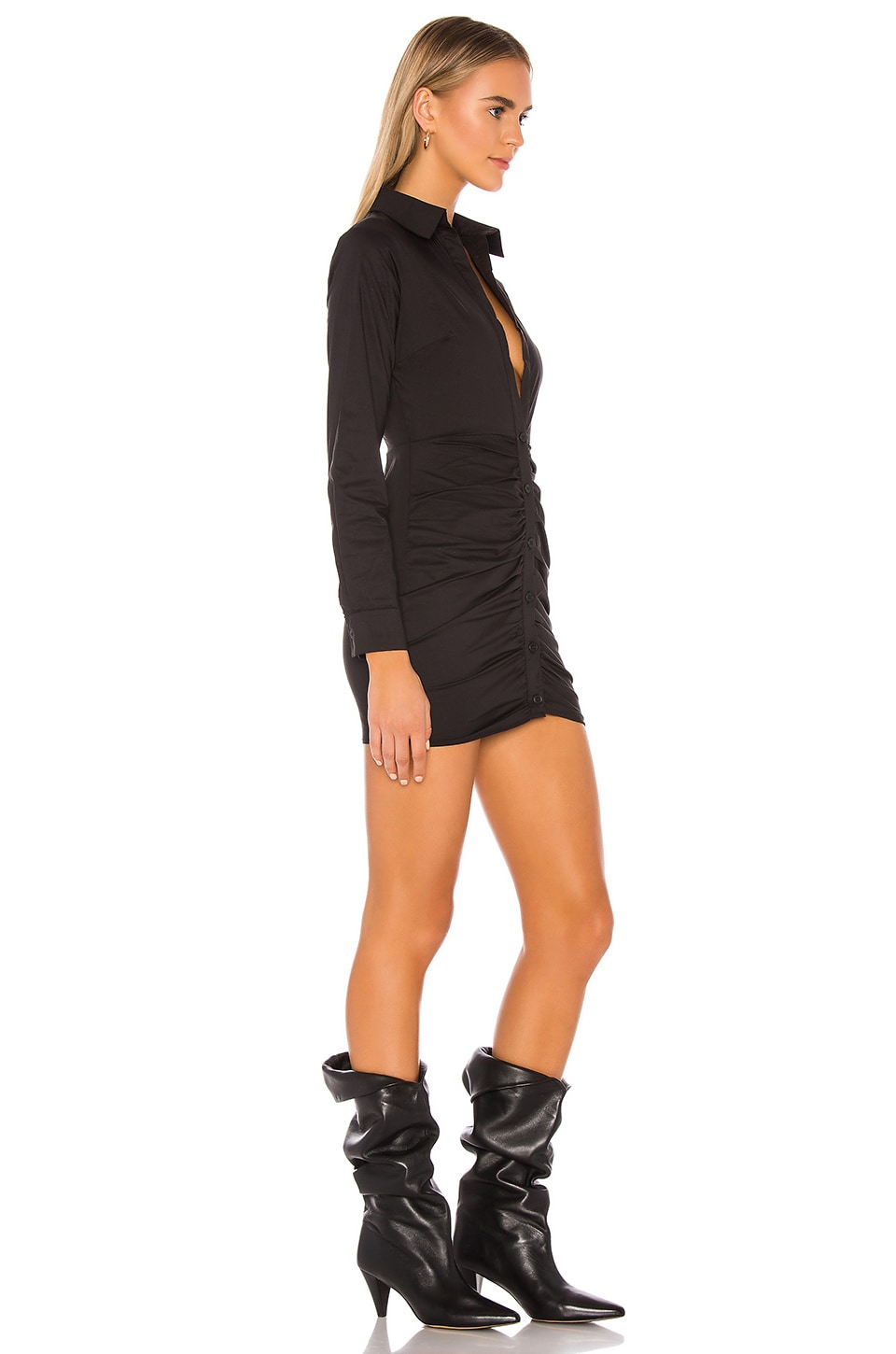 Colette Ruched Shirt Dress, view 2, click to view large image.