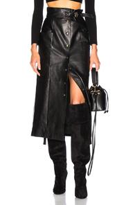 ALBERTA FERRETTI Button Front Leather Midi Skirt in Black