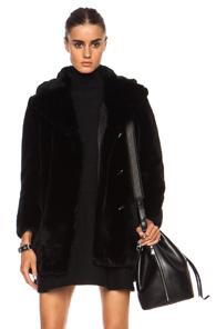 Carven Faux Fur Coat in Black