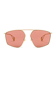 Gucci Shiny Gold Sunglasses in Metallic