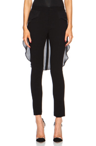 Haute Hippie Triacetate-Blend Pant with Georgette Trail in Black