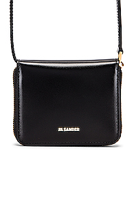 Jil Sander Hook Zip Wallet Crossbody Bag in Black