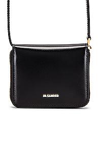 Jil Sander Hook Zip Wallet Crossbody Bag in Black