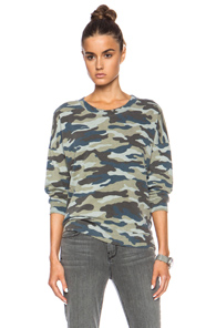 Pam & Gela Lisa Boxy Cotton-Blend Sweatshirt in Green,Abstract