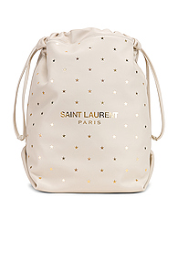Saint Laurent Supple Logo Teddy Polka Dot Pouch in Stars,White