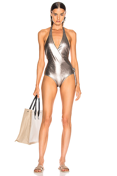 ADRIANA DEGREAS Cross Front Halterneck Swimsuit in Metallic. - size L (also in S)