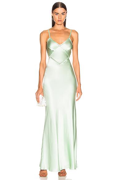 ALBERTA FERRETTI Slip Dress in Green. - size 38 (also in 44)