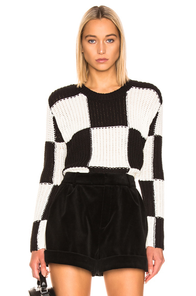 A.L.C. Checkerboard Sweater in Black,Stripes,White. - size L (also in M,S,XS)