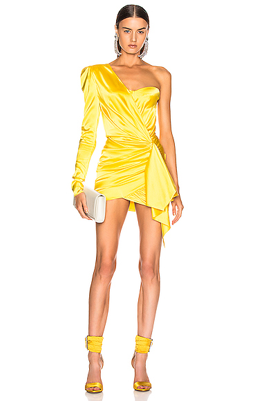Alexandre Vauthier One Shoulder Wrap Mini Dress in Yellow. - size 36 (also in 42)