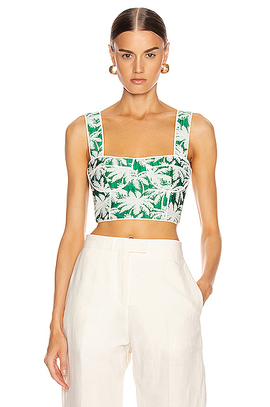 Alexis Kaela Bustier Top in Green,Tropical. - size S (also in M,L)