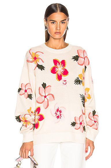 ALANUI Floral Sweater in Floral,White. - size S (also in L,M)