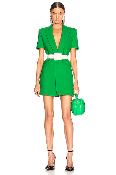 AREA Bonded Short Sleeve Blazer Dress in Green. - size 4 (also in )