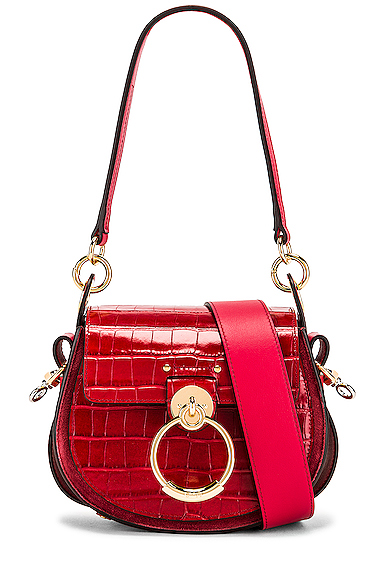 Chloe Small Tess Embossed Croco Shoulder Bag in Red.