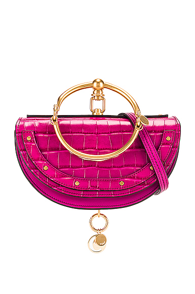 Chloe Small Nile Embossed Croco Minaudiere in Pink.