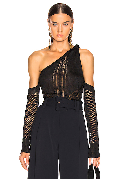 Cushnie Cold Shoulder Knit Top in Black. - size L (also in M,XS)