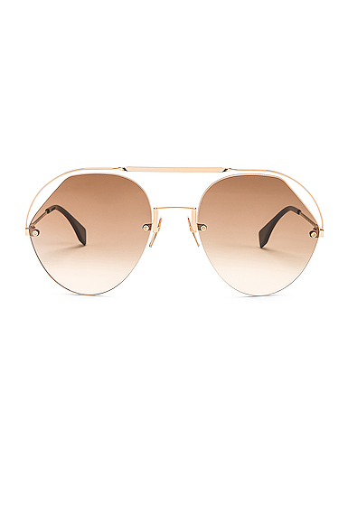Fendi Round Aviator Sunglasses in Brown.