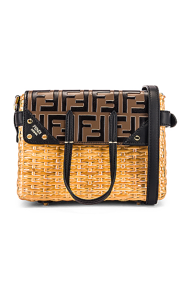 Fendi Mini Flip Crossbody Bag in Black,Brown,Neutral.