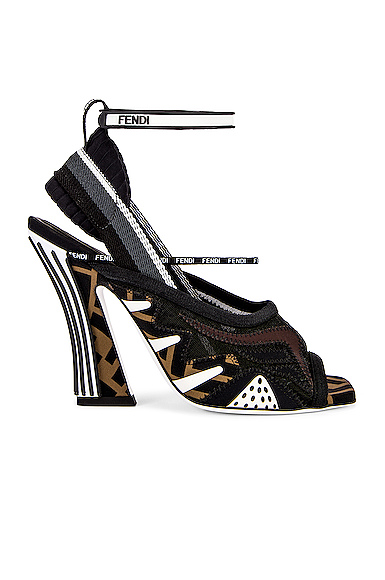 Fendi FFreedom Logo Heel in Black. - size 38 (also in 36,37,37.5,39,36.5,39.5)