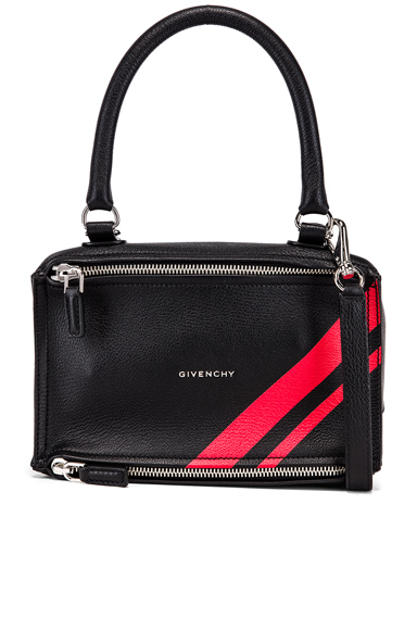 Givenchy Red Stripe Small Pandora Bag in Black,Red.