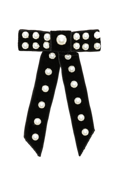 Jennifer Behr Perlita Velvet Bow Barrette in Black.
