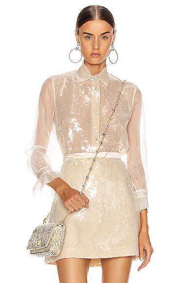 Miu Miu Sequin Long Sleeve Blouse in Neutral. - size 44 (also in 40,42)