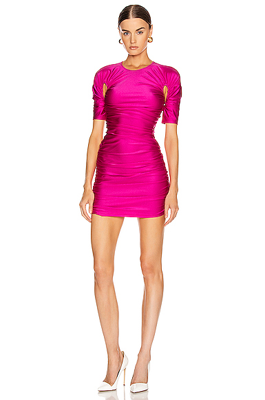 Mugler Cutout Ruched Mini Dress in Pink. - size 38 (also in 36,40)