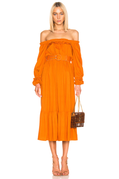 NICHOLAS Pleated Prairie Dress in Orange. - size 2 (also in 0,4,6,8)