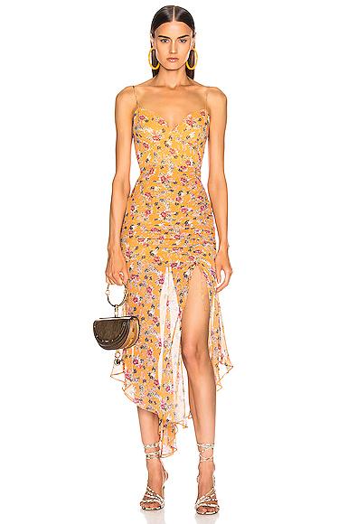 NICHOLAS Drawstring Dress in Floral,Orange. - size 4 (also in 0,2,6,8)