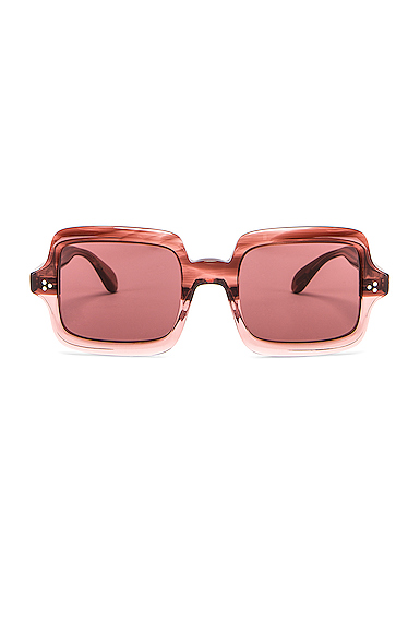 Oliver Peoples Aviri Square Sunglasses in Pink.