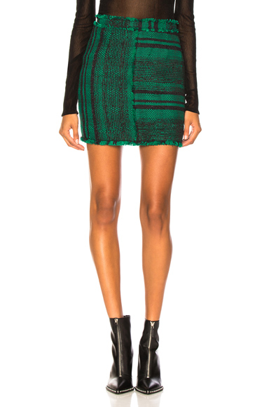 Proenza Schouler Tweed Mini Skirt in Green,Plaid. - size 2 (also in 0,4)