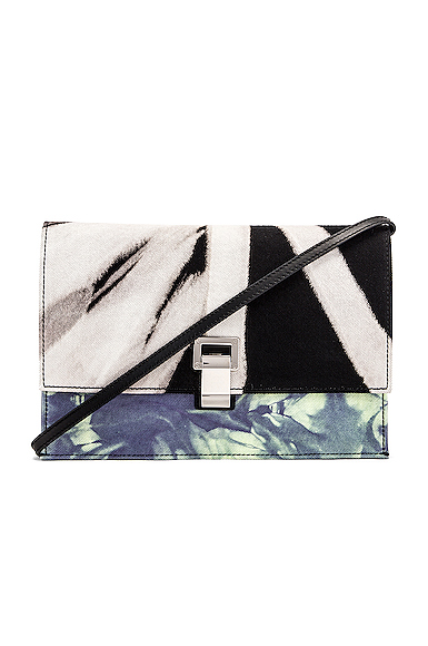 Proenza Schouler Denim Tie Dye Small Lunch Bag in Black,Ombre & Tie Dye,Purple.