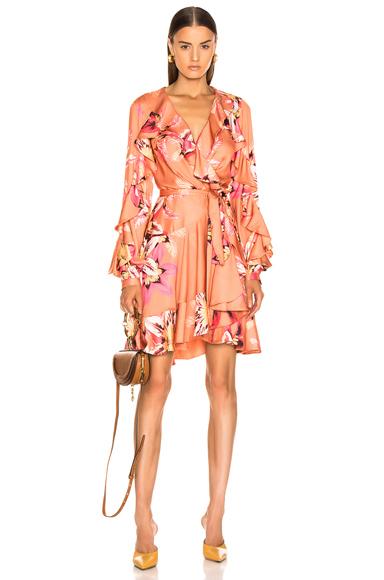PatBo Floral Carmen Mini Wrap Dress in Nude. - size 4 (also in 0,2)