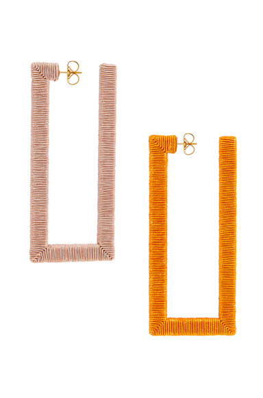 Rebecca De Ravenel Geo Hoop Earrings in Orange.