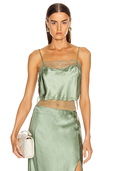 SABLYN Rose Lace Tank in Green. - size M (also in L,S)