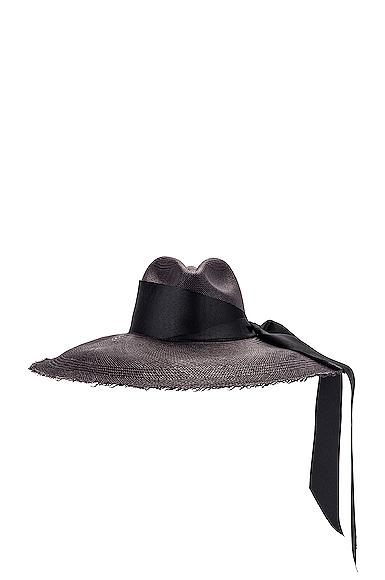 SENSI STUDIO Panama Hat With Maxi Bow in Black in Black. - size S (also in L,M)