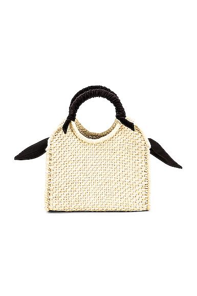 SENSI STUDIO Midi Handbag With Velvet Detail in Neutral.