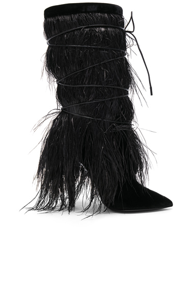 Saint Laurent Era Feather Embellished Velvet Yeti Boots in Black. - size 38 (also in 36,37,39,40)
