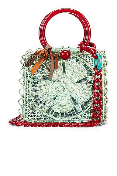 SILVIA TCHERASSI Camile Bag with Chain Strap in Green.