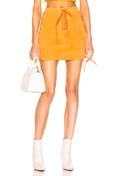 Unravel Suede Side Lace Up Skirt in Orange. - size 40 (also in 38,42)