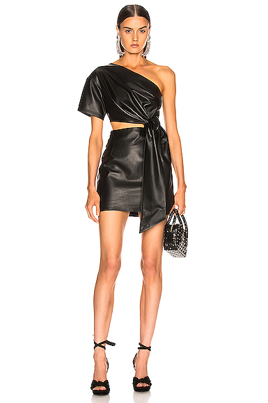 Zeynep Arcay One Shoulder Mini Leather Dress in Black. - size 4 (also in 0,2,8)