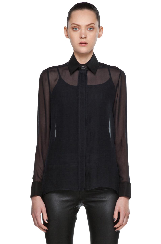 Black Chiffon Blouse Zara - Blue Denim Blouses