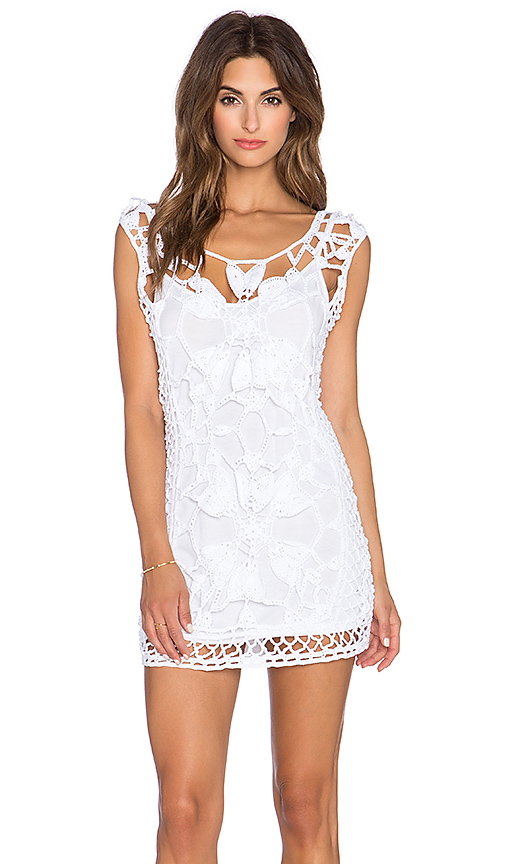 Anna Kosturova Magnolia Crochet Dress in White