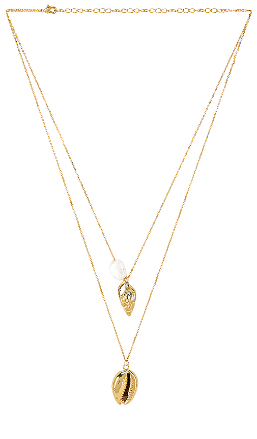 Amber Sceats Adella Necklace in Metallic Gold.