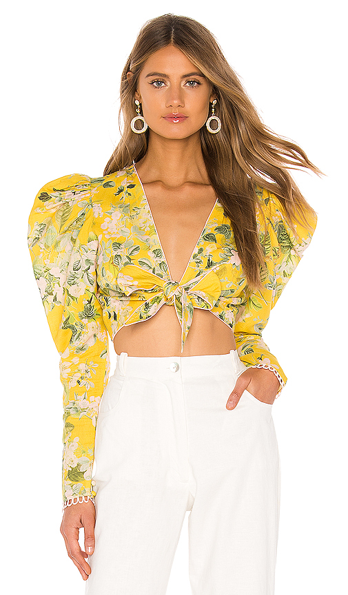 HEMANT AND NANDITA Terra Crop Top in Yellow. - size S (also in L,M,XS)