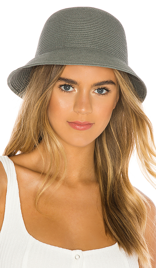 Brixton Essex Straw Bucket Hat in Gray. - size XS (also in S,M,L)