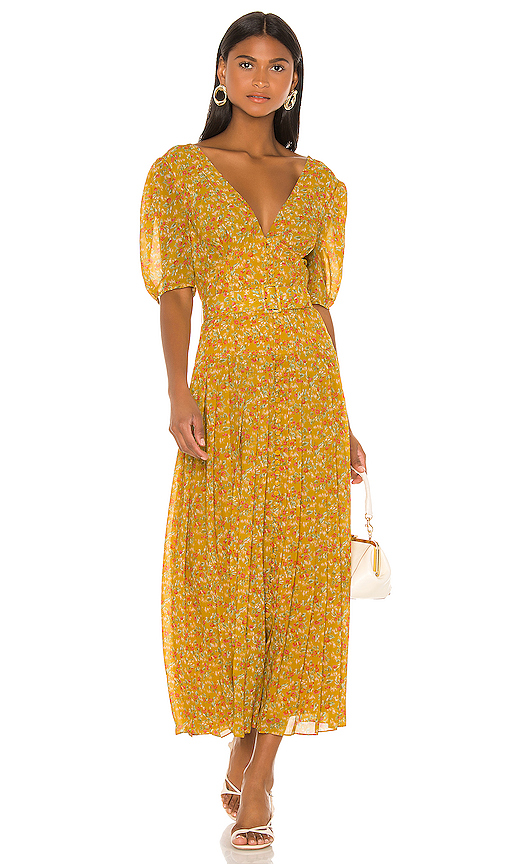 Divine Heritage Sweet Virginia Ditsy Maxi Dress in Mustard. - size XS (also in S,M,L)