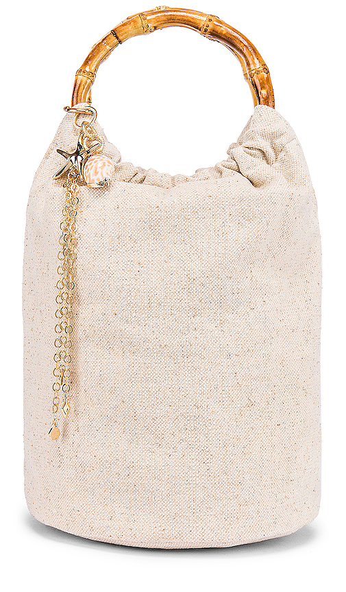 Ettika Shell Bucket Bag in Cream.