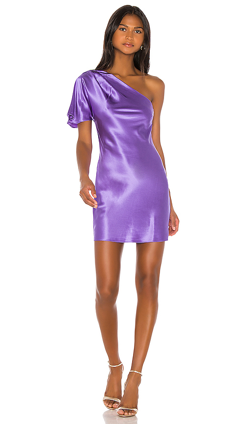 fleur du mal One Shoulder Bias Mini Dress in Purple. - size 6 (also in 0,2,4,8)