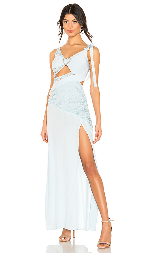 For Love & Lemons Antoinette Maxi Dress in Baby Blue. - size S (also in XS,M,L)